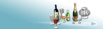 Flaschen und Gläser