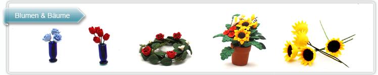 Miniatuer Blumen, Pflanzen, Bäume und Blumensträuße.