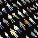 1:100 scale people, 1:100 figures, TT3 miniature figures, sitting and standing mini figure