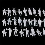 H0 Figuren unbemalt, Modellfiguren 1:87, H0 Landschaftsbau Zubehör, Bauarbeiter für H0
