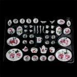Puppenhaus Teller, Miniatur Essgeschirr Set, Maßstab 1:12 Geschirr, Porzellan Miniaturen f