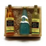 miniature wine box, dollhouse wine box, miniature wooden crates