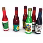 miniature wine bottles, dollhouse bar