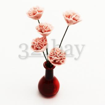 Dollhouse roses made of polymer clay
