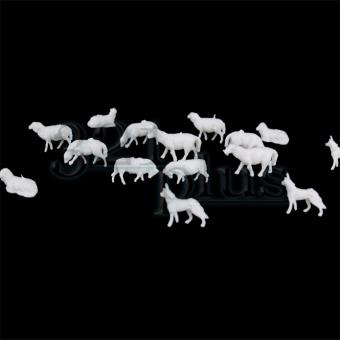 HO Scale Sheep & Dogs | Miniature Landscaping Supplies