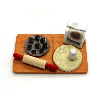 Miniature baking countertop for dollhouse kitchen