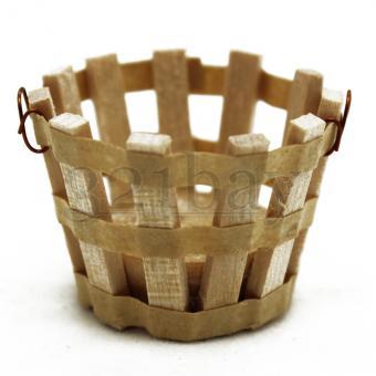 Miniature Basket | Wooden Dollhouse Accessories