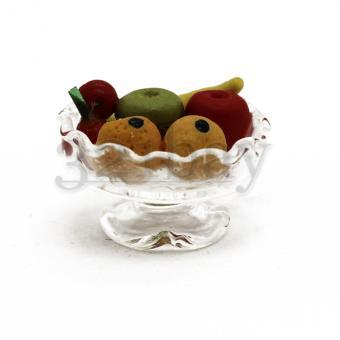 Mini Schüssel & Puppenhaus Glas mit Deko Obst Miniaturen
