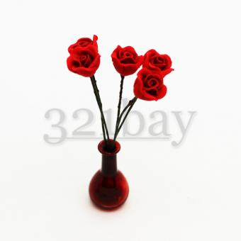 Miniature polymer roses for miniature garden