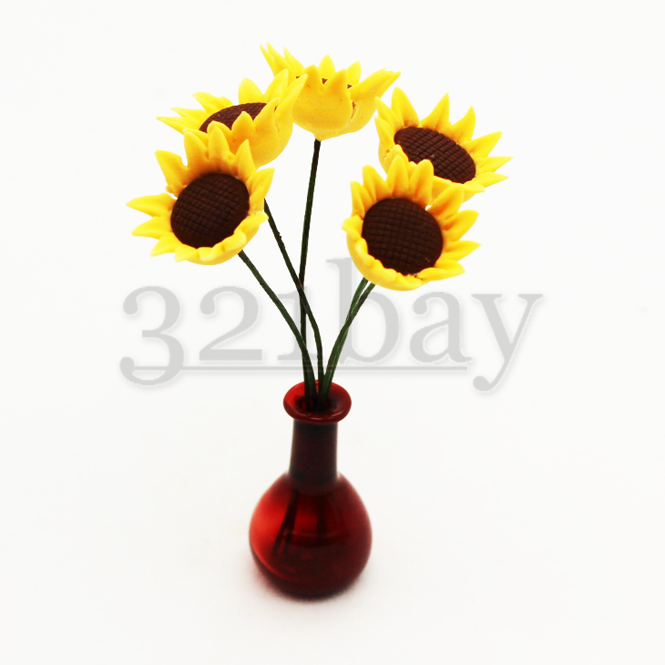 Clay sunflower for your miniature garden