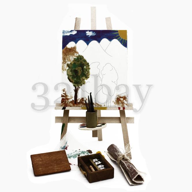 Puppenhaus Miniatur Hobby | Mini Staffelei Holz + Mini Staffelei Deko