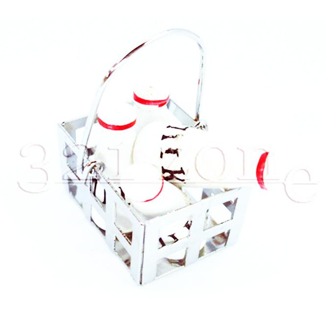Mini Einkaufskorb mit Miniatur Milchflaschen