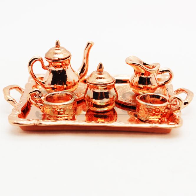 miniatur geschirr orientalisches mini tee service 6 teilig kupfern 321. Black Bedroom Furniture Sets. Home Design Ideas