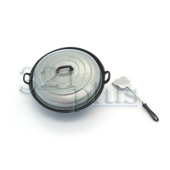 Miniature Wok with Spatula | Dollhouse Cookware
