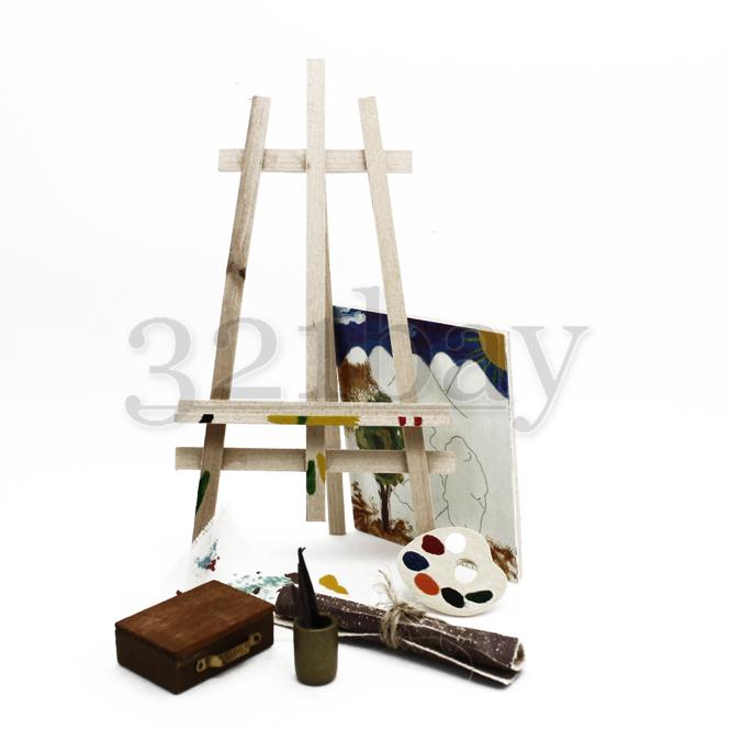 puppenhaus miniatur hobby mini staffelei holz mini. Black Bedroom Furniture Sets. Home Design Ideas